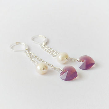 Heart earrings, Swarovski crystal & freshwater pearl dangle earrings, pink white tiny earrings, minimalist jewelry