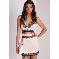 Missguided - Lace Trim Satin Mini Skirt Pink