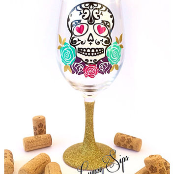 Sugar Skull // Glitter Dipped Wine Glass