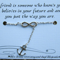 Infinity and Anchor Charm Anklet and Quote Inspirational Card- Bridesmaids Gift - Friendship Anklet - Friends Forever - Quote Gift