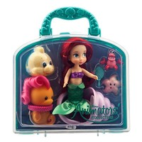 """disney parks princess ariel animator mini doll set 5"""" with accessories new with case"""