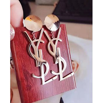 YSL:Fashion temperament English letter pendant earrings female earrings titanium steel rose gold jewelry