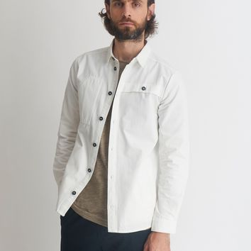 The Idle Man Twill Overshirt White