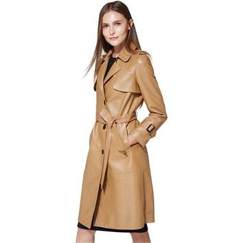 Season Sale!Spring And Autumn Women Real Leather Trench Long Design Sheepskin Leather Genuine Leather Trench Coat