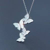 Freshness beauty butterfly 925 sterling silver necklace,a perfect gift