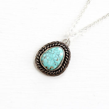 Vintage Sterling Silver Turquoise Pendant Necklace - Retro 1960s Native American Tribal South Western Blue Dainty Gemstone Jewelry