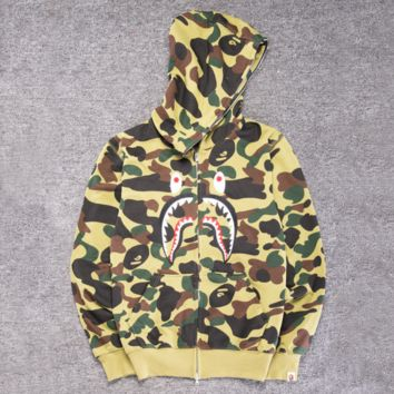 BAPE SHARK Women Men personality camouflage shark long sleeve zipper hooded coat Light Green