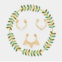Spike Clip on Nose Ring Set, Gold Tone Fake Septum Piercing Set
