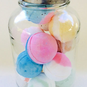 Mothers Day Gift Bath Bomb Set/Ten Soapie Shoppe Bath Bombs/Vintage/Repurposed Glass Jars/Soapie Shoppe/Haywood Mall