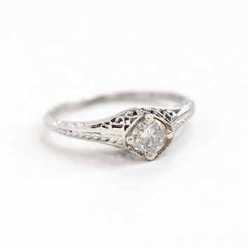 Antique Platinum 1/4 Carat Diamond Solitaire Filigree Ring- Size 5 Vintage 1920s 1930s Fine Engagement Jewelry with Open Metal & Etched Band