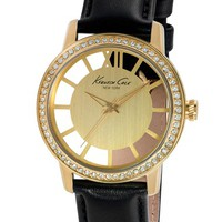Women's Kenneth Cole New York Crystal Bezel Transparent Dial Watch, 36mm - Black/ Gold
