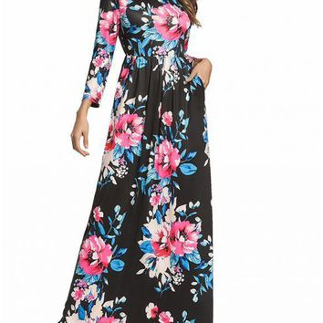 Chicloth Prom Sundress Elastic Waist Long Dress Floral Long Sleeve