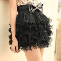 Girls Full Tutu 5 Layer Mini Cake Skirt Black UEB2 = 1946584068