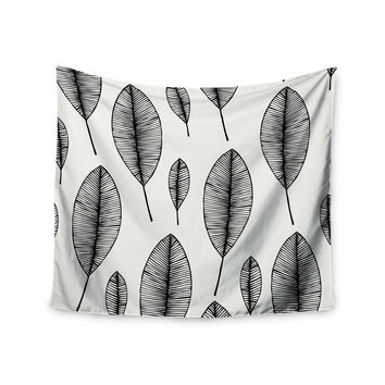 "KESS Original ""Leaves"" Black White Wall Tapestry"