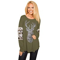Chicloth Olive Green Loose Sequin Christmas Reindeer Top