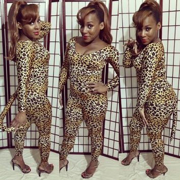Halloween Sexy Cat Costume Leopard/ Cheetah Body Suit Stretch Print One Piece