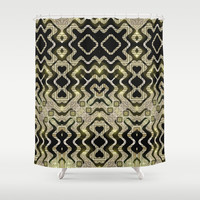 Tribal Gold Glam Shower Curtain by Webgrrl