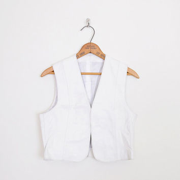 white leather vest, white vest, 80s leather vest, western leather vest, leather western vest, leather crop vest jacket leather 80s vest s m