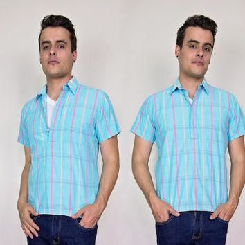vintage mens striped polo shirt small / 80s mens summer cotton shirt / mens hipster sh