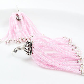 Soft Pink Beaded Tassel Dangly Statement Earrings - Sterling Silver Earwire