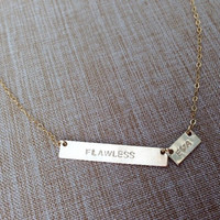 Two unbalanced Personalized name/initial bar necklace -2 Customized gold or silver name/initial plate necklace