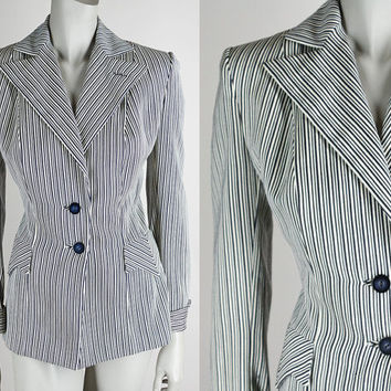 Vintage 40s Blazer / 1940s Navy Blue and White Stripe Wool Suit Jacket M