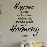 Happiness Vinyl Wall Sticker Decal Art Saying Decor