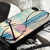 anchor refuse to sink design  for iPhone 4 case, iPhone 4s case, iPhone 5 case, samsung galaxy S3 and samsung galaxy S4 case