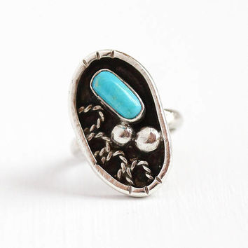 Vintage Turquoise Ring - Sterling Silver Blue Retro Gemstone - Size 6 Southwestern Statement Native American Rope Stud Design Jewelry