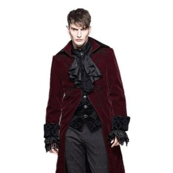 Winter Men Trench Coat Fashion Long Jacket Male Punk Gothic Rock Long Sleeve Woolen Coat Stage CostumeS