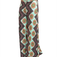 Mint Pattern Palazzo Pants comfy fit stretch fold over waist band