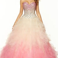 Strapless Ombre Ball Gown by Mori Lee