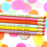 Worry Less & Laugh More, Set of 6 Hexagon Pencils, Gold Foil Pencils, Personalized Pencils, Engraved Pencils, Stocking Stuffer
