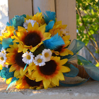 Sunflower Turquoise Bridal Bouquet, Silk Wedding Flowers, Rustic Wedding, Sunflower Wedding, Vintage Wedding, Southern Wedding, Sunflowers