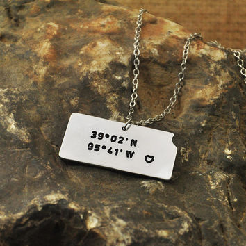 Kansas KS  necklace Latitude Longitude Necklace Coordinate  925 sterling silver  necklace state necklace map necklace state charm