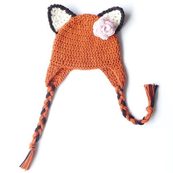 Crochet Fox Ear Flap Hat Pattern Crochet Pattern Newborn Fox Hat Baby Girl Baby Boy Baby Ear Flap Hat Photoprop Toddler Hat Earflaps Pattern