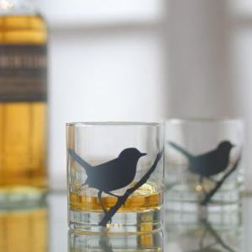 wren screen printed glasses charcoal set of 4 old by vital on Etsy