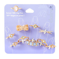 Gold Crystal & Stones 10 Pack Stack Rings