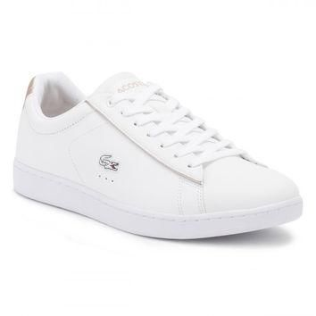 Lacoste Womens White/Light Pink Carnaby EVO 217 2 SPW Trainers