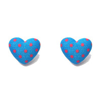 "Handmade ""Patriotic Love"" Blue and Red Polka Dot Fabric Covered Button Heart Shaped Earrings - Red, White, and Bloom Collection"
