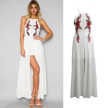 Sexy Women Long Split Dress Floral Embroidery Applique Cross Back Sleeveless Summer Beach Holiday Maxi Dress White
