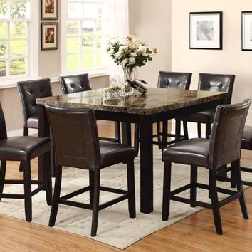 9 pc Granada collection brown marble top wood counter height dining table set