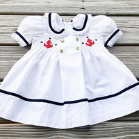 80's White Sailor Girl Dress 18 Months, Classic Sailor Girl Dress, Baby Sailor Dress, Nautical Dress, Puff Sleeve Sailor Dress, 18 Months
