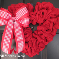 Red Valentine's Day Burlap Heart Wreath with Red/White Gingham Checker Bow, Red Burlap Heart Wreath, Spring, Easter, Holiday