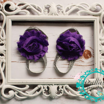 Barefoot Sandals, Baby sandals, flowers, purple and silver, beach shoes