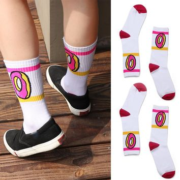Donut Long Socks Funny Crazy Cool Novelty Cute Fun Funky Colorful