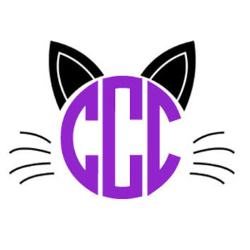 Halloween Monogram Car Decal- cat Vinyl Monogram Decal with crown- iPad Decal- Phone Decal- Sticker Monogram Decal- Laptop Decal