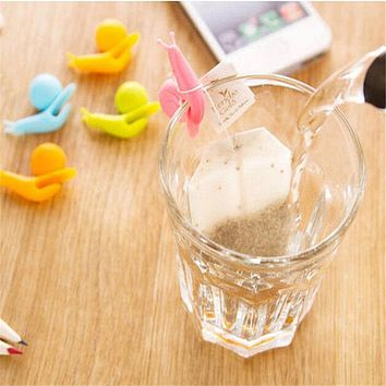 5 PCS Cute Snail Shape Silicone Tea Bag Holder Cup Mug Hanging Tool Tea Tools Randome Color Free Shipping