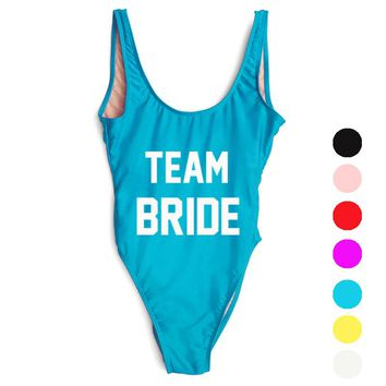 2017 Sexy Team Bride Swimsuit One Piece Swimwear Letter Print Bathing Suit Monokini Beachwear Low Back  Bride Squad trikini
