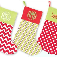 Personalized Christmas Stocking - Embroidered Monogram or Name - Red Dot, Green Stripped or Red Chevron styles